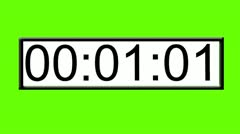 One minute digital clock countdown timer on green screen white background Stock Footage
