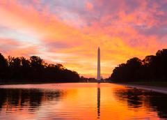 brilliant sunrise over reflecting pool dc - stock photo