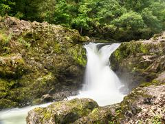 skelwith falls waterfall in lake district - stock photo