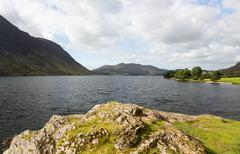 view over crummock water in lake district - stock photo