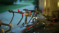 bike rack secure back car automobile - stock footage