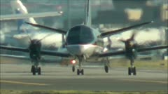 Prop plane in shimmering heat Stock Footage