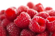 Stock Photo of raspberries against white