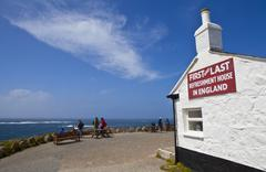 First & Last Refreshment House on Land's End in Cornwall Stock Photos
