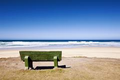 Bench with ocean view (adobe rgb) Stock Photos