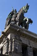 Monument to kaiser wilhelm i in koblenz Stock Photos