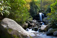 Mountain Stream Waterfall - stock photo
