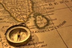 compass and old map india - stock photo
