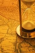 Sand timer and map burma Stock Photos