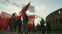 Demonstration next to the Colosseum in Roma Stock Footage
