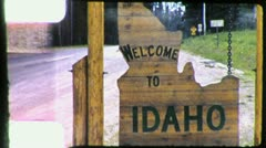Idaho STATE LINE SIGN Travel 1950s (Vintage Retro Film Home Movie) 4439 - stock footage
