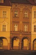 arcade façade in main square - stock photo