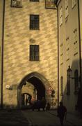 Tower with medieval decorative diamond Stock Photos