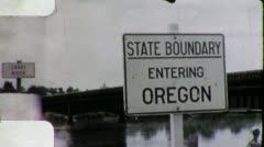 Oregon STATE LINE SIGN Travel 1950s (Vintage Retro Film Home Movie) 4440 - stock footage