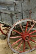 old wagon, 19th century homestead - stock photo