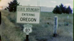 OREGON STATE LINE SIGN Travel 1950s (Vintage Retro Film Home Movie) 4441 - stock footage
