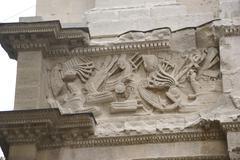 frieze sculpture of roman battle - stock photo