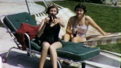Cute Happy SUNBATHING TEENAGE GIRLS 1950s Vintage Film Home Movie 4446 Stock Footage
