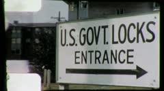 BALLARD LOCKS Entrance Sign Seattle 1960s (Vintage Film Amateur Home Movie) 4450 - stock footage