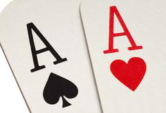 a pair of aces playing cards macro close up. - stock photo