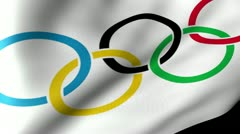 Olympic-flag Flag Waving Stock Footage