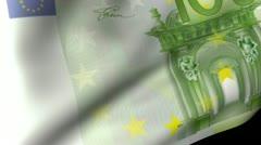 One Hundred Euros Flag Waving Stock Footage
