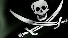 Pirate Flag Waving Stock Footage