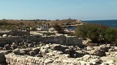 Ruins of the Chersonesos Greek city, Sevastopol (Crimea) Stock Footage