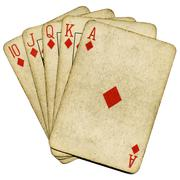 Royal flush old vintage poker cards isolated over white. Stock Photos