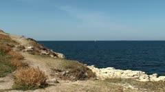 View of Black Sea coast. (Chersonesos, Sevastopol, Crimea) Stock Footage