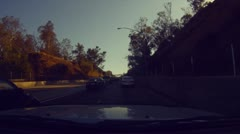 Driving onto the 110 from the 5 and through downtown Los Angeles - 2 Stock Footage