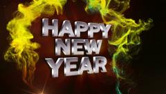 HAPPY NEW YEAR Text in Particle Red 2 - HD1080 Stock Footage