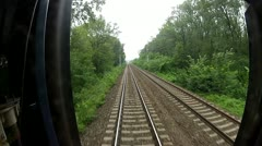 View of passing landscape from a train window - stock footage