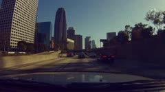 Driving onto the 110 from the 5 and through downtown Los Angeles - 13 Stock Footage