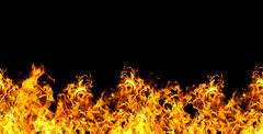 seamless fire  on a black background - stock illustration