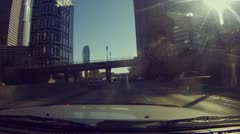 Driving onto the 110 from the 5 and through downtown Los Angeles - 14 Stock Footage