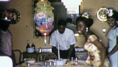 BLACK African American FATHER Birthday Party 1960s Vintage Film Home Movie 4462 Stock Footage