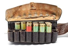 vintage ammunition belt - stock photo