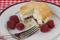 raspberry and cream scone - stock photo