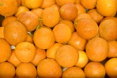 Oranges Layered in Crate Basket - stock photo