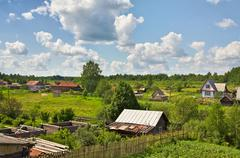 russian village - stock photo