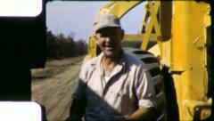 WORKING MAN CLASS Blue Collar Construction 1950s (Vintage Film Home Movie) 4471 - stock footage