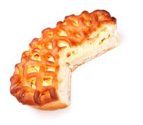 Pie with curds filling Stock Photos