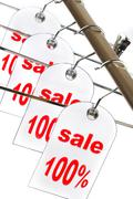 Sale. a hanger with labels on a white background. Stock Illustration