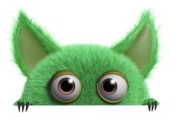 3d cartoon cute furry gremlin monster - stock illustration
