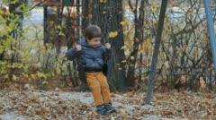 Autumn swing chair Stock Footage