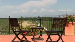 Balcony with table and chairs Stock Footage