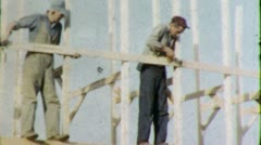 Men FRAMING House Construction Site 1960s Vintage Retro Film Home Movie 4480 Stock Footage