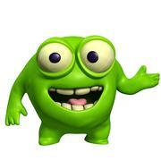 Green cute monster Stock Illustration