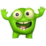 3d green monster Stock Illustration